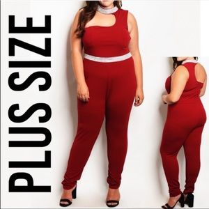 Burgundy Jumpsuit with Rhinestones Plus-Size
